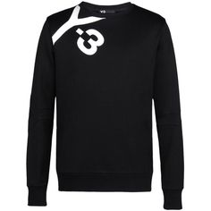 Y-3 Logo Sweater featuring polyvore, men's fashion, men's clothing, men's sweaters, black, mens short sleeve sweater, mens graphic sweaters, mens crew neck sweaters and mens crewneck sweaters