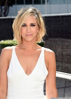 Kristen Wiig sizzled in a new textured bob and sultry eyeshadow. The tousled hairdo was effortless with her white hot dress. Suave Professionals celebrity stylist Jenny Cho used Natural Infusion All Day Body Leave-In Foam with Seaweed to boost volume and movement.