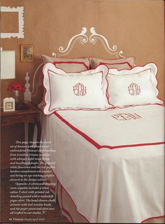 Obsessed with monogrammed bedding.