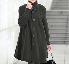 Grey, black, green, red coat, long knitted sweater, wool woolen coat, women's dress code cloak coat, coats, a warm coat on Etsy, $59.99