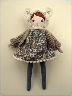 C'est dimanche Doll - Mademoiselle Dimanche winter wonderland plushie textile art doll , cute contemporary of the old rag doll en trend street style fashionista girls will love this