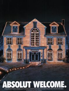 1997 Absolut Welcome Lighted House Vodka Ad 1