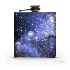 Small Magellanic Cloud of Stars 6oz or 8oz Whiskey Hip Flask (22 CAD) ❤ liked on Polyvore featuring home, kitchen & dining, bar tools, barware, decanters, drink & barware, grey, home & living, whisky flask and pocket flask
