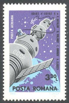 Romania C172 Stamp  Soyuz 4  5 over Globe