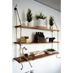 diy hanging rope shelves do it your damn self pinterest regal wandregal und ideen. Black Bedroom Furniture Sets. Home Design Ideas