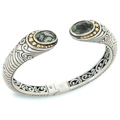 Green Amethyst Sterling Silver Bangle with 18K Gold Accents | Cirque Jewels