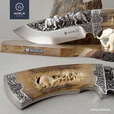 Bohler N695 steel, titanium, mammoth tusk, ebony. Engraving, carving, scrimshaw…
