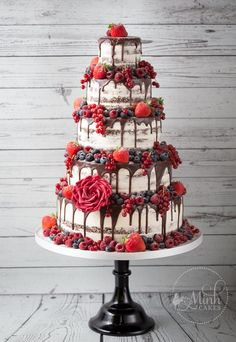 """Lady in Red"" naked Red Velvet drip wedding cake with red berries - by Minh Cakes in Zurich"
