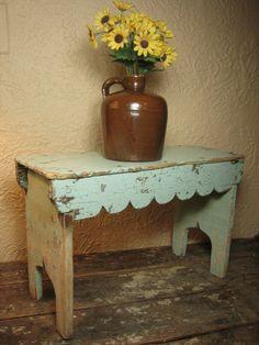 Old Wooden Hand Made Folk Art Bench w. Old Worn Aqua Blue Paint  $80