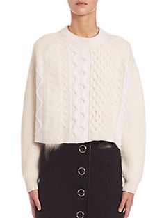 Alexander Wang - Cropped Cable Knit Sweater