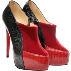 Christian Louboutin Velvet and Ostrich Shoe Boot