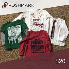 Boys long sleeve tees Gently worn lot of 4 long sleeve tees, all Baby Gap size 3T, other one Gymboree size 3T Baby Gap Gymboree Shirts & Tops Tees - Long Sleeve