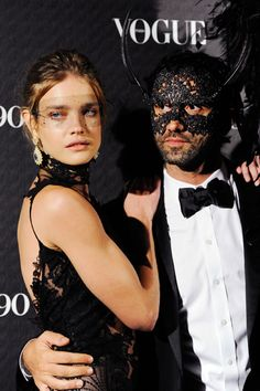 Natalia Vodianova in a barely there lace mask