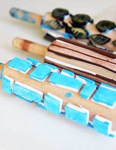 print your own gift wrap paper or custom #wallpaper with these rolling pins repurposed into stamps