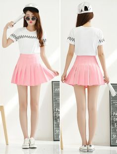 Color tennis skirt saia com pregas, roupas asiáticas, roupas coreanas, saia e blusa Pink Outfits, Skirt Outfits, Pretty Outfits, Cute Outfits, Kpop Fashion, Kawaii Fashion, Asian Fashion, Fashion Outfits, Kpop Mode