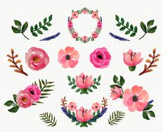 FREEBIES FREE Watercolor Floral Peonies Roses clip art collection 14 Elements…