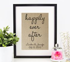 Happily Ever After   Personalized Burlap Print   Disney Wedding Gift   Bridal Shower Gift   Personalized Wedding Gift for Couples