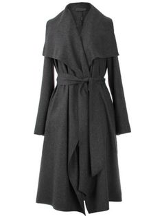 Grey Lapel Tie-Waist Loose Trench Coat
