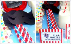 circus party - mustaches + straws = mustache straws