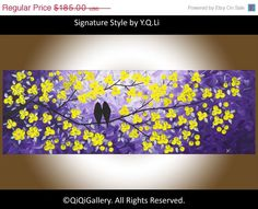 """Abstract painting Heavy Texture Impasto Palette Knife Tree Flower Love Birds """"Love and Romance"""" by QIQIGALLERY"""