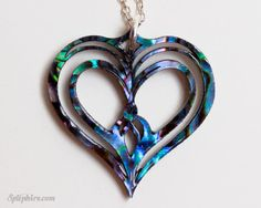 Heart Necklace - Paua Shell Abalone Heart Necklace - Owl Heart - Twin Flame - Laser Cut