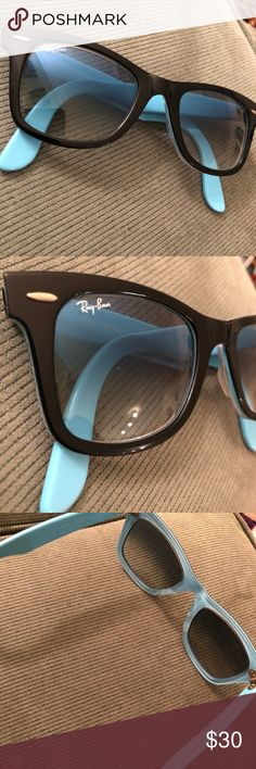 Ray-Ban Wayfarer Sunglasses, Black & Sky Blue Used but in great shape. There seems to be a tiny scratch on the right lens but it's not noticeable when you're wearing them. Otherwise, they're like new! Super fun blue and black color combination. Ray-Ban Accessories Sunglasses