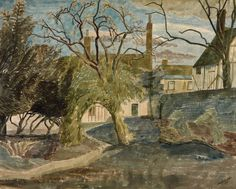 'The Bell Inn' (Great Bardfield) by Edward Bawden, 1939 Landscape Art, Landscape Paintings, Landscapes, Victorian Poetry, Royal College Of Art, Light Painting, Travel Posters, Watercolor Art, Illustration Art