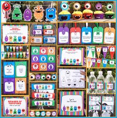 THE MOTHERLOAD of Monster printables all in one package.  Banners, cupcake toppers, candy bar wrappers, water bottle labels, thank you's, invitations, food signs, editable signs for photo booth or whatever.  Goodness!