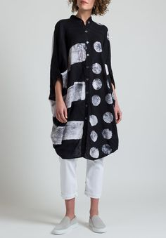 Gilda Midani Linen Square Dress in Stripes Pois Black & White Black And White Shirt, Black White, Roupas Fashion, Painted Clothes, Sewing Clothes, Baggy Clothes, Santa Fe Dry Goods, Black Costume, Clothing Patterns