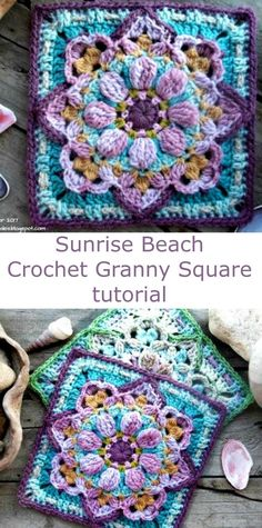 Free granny square pattern and tutorial. Sunrise Beach. I love the texture and how full this is. Very puffy granny square pattern. #crochetsquares