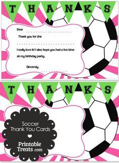 Pink Sunburst Soccer Thank You Cards from PrintableTreats.com