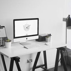 Corner Desk For Your Home Office - Interior Decor and Designing Cozy Home Office, Home Office Desks, Office Decor, Office Ideas, Decorating Office, Office Setup, Desk Ideas, White Desk Design, Minimal Desk