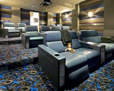Media Room Design Idea.  Very pretty!!!  Love the colors & the shared seating.
