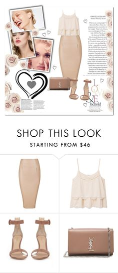 """Nude."" by smajicelma ❤ liked on Polyvore featuring MANGO, Gianvito Rossi, Yves Saint Laurent and ASOS"