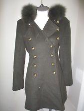Hillary Radley Fox Fur Trim Wool Double Breasted Coat  4 Green NWOT