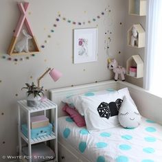 """Jen on Instagram: """"Pink! Oh I do love girl's rooms. So many fab IG store goodies here - stunning limited edition Rebekah Rabbit dot print collab by @tayloreddots_illustrations and @inkheartspaper, gorgeous teepee shelf by @ahahonline, sweet pillowcase collab by @blessedeleven and @me_and_zebedee and gorgeous pouches by the wonderful @misspotspouches - just to name a few. Tap for deets of the other awesome IG shops featured here. #whitefoxstyling"""""""