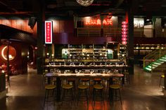 Montreal architecture firm Ménard Dworkind has created a microcosm of Chinatown at this a colossal pan-Asian restaurant and bar in Montreal's Laval suburb. New Chinese Restaurant, American Restaurant, Cafe Restaurant, Restaurant Design, Hotpot Restaurant, Chinese Bar, Restaurant Ideas, Chinese Style, Montreal Architecture