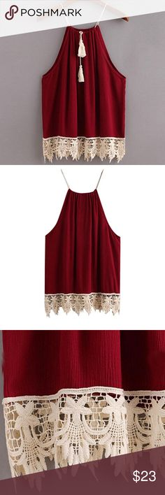 Spotted while shopping on Poshmark:  Red Wine  Tasseled Tank T! #poshmark #fashion #shopping #style #Tops