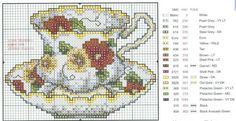 cross stitch teacup chart | Tea cup red - Cross stitch Picture