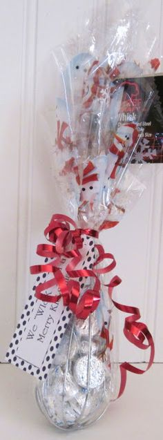 Gift under $2.00  Tags says: We 'WHISK' you a Merry 'KISSmas'! If using small Snickers Tag would say: We 'WHISK' we could do more, but don't 'SNICKER', just be glad you got something!