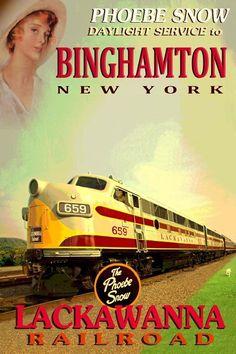 Binghamton York Lackawanna Railroad Phoebe Snow Train Poster Art Print 060