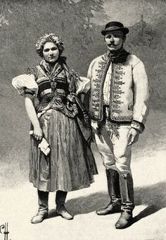 Slovak couple in national dress Ethnic Chic, Ethnic Fashion, European Costumes, Princess And The Pea, Hungarian Embroidery, Austro Hungarian, Folk Dance, Folk Costume, My Heritage