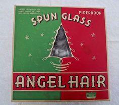 Vintage Christmas Angel Hair Curly Spun Glass National Tinsel Company 1920s Box #vintagechristmas #angelhairspunglass