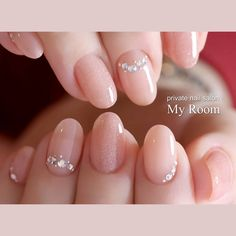Make an original manicure for Valentine's Day - My Nails Nude Nails, White Nails, My Nails, Korean Nail Art, Korean Nails, Gel Nail Designs, Cute Nail Designs, Wedding Nails Design, Nail Brushes
