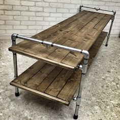 Sabretooth with Wild Child (Age of Apocalypse) Modern Industrial Furniture, Wood Furniture, Industrial Pipe, Wood Crafts, Diy And Crafts, Diy Tv Stand, Interior And Exterior, Outdoor Decor, Table