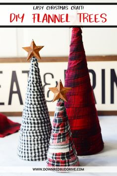 Flannel Trees Diy Flannel Trees Flannel Christmas Decorations Flannel Christmas Happy New Year Diy Christmas Crafts To Sell, Christmas Projects, Holiday Crafts, Rustic Christmas Decorations, Christmas Ideas, Homemade Christmas Tree, Christmas Parties, House Decorations, Christmas Christmas