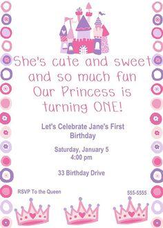 Princess Birthday Party Invitation by TandHCustomDesigns on Etsy, $10.00