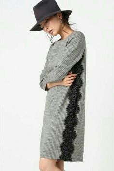 Wool check × lace one-piece. Look Fashion, Hijab Fashion, Diy Fashion, Fashion Dresses, Womens Fashion, Fashion Design, Trendy Dresses, Simple Dresses, Nice Dresses