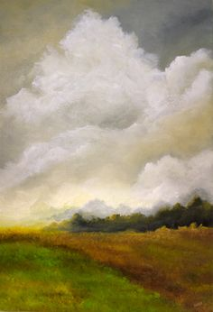 October Rising, 24w x 36h, Acrylic on Canvas Original by Laura Swink $400. Art Work, Watercolour, Original Paintings, Abstract Art, Landscapes, Sunshine, October, Clouds, Fine Art