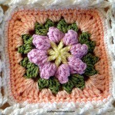 Spring flower blanket square Colours used: from the centre; Crochet Blocks, Crochet Squares, Crochet Granny, Knit Crochet, Crochet Patterns, Flower Granny Square, Granny Square Blanket, Granny Squares, Flower Center